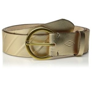 NWT Fossil Jean Holiday Emboss Belt Gold S/L